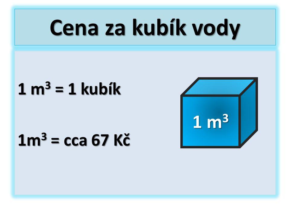 Cena za kubík vody 1 m 3 = 1 kubík 1m 3 = cca 67 Kč 1 m 3