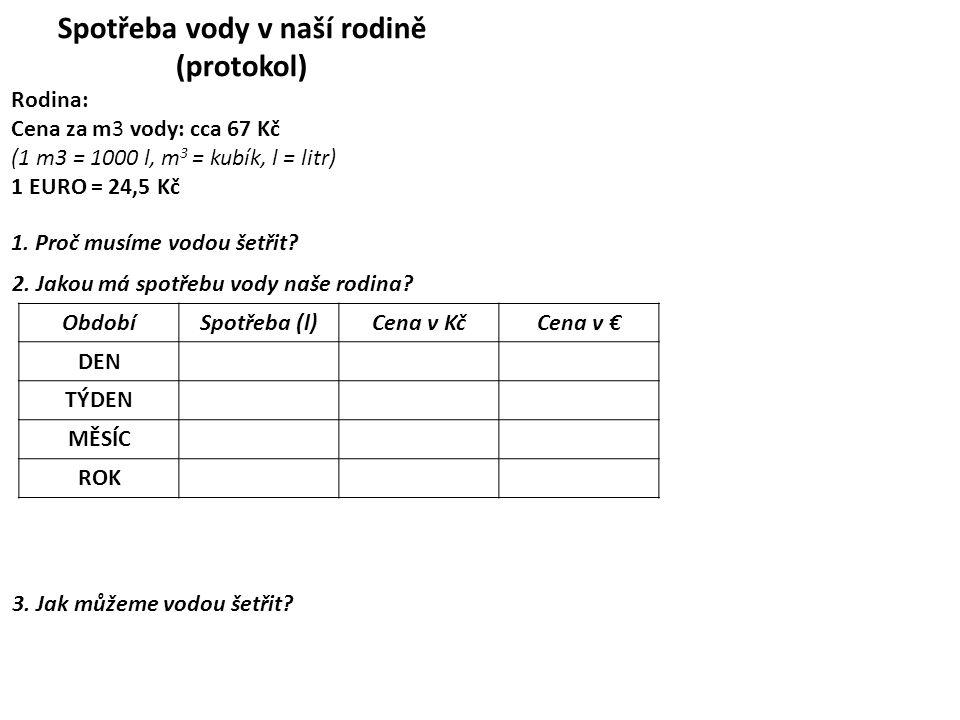 Spotřeba vody v naší rodině (protokol) Rodina: Cena za m3 vody: cca 67 Kč (1 m3 = 1000 l, m 3 = kubík, l = litr) 1 EURO = 24,5 Kč 1. Proč musíme vodou