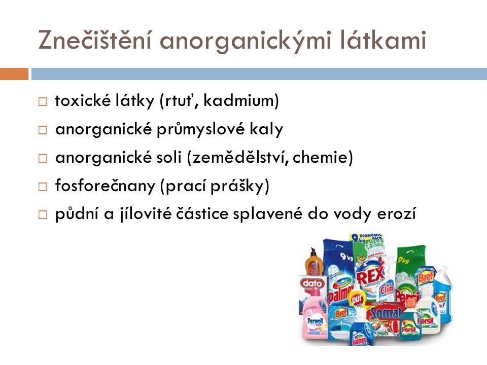 Znečištění anorganickými látkami  toxické látky (rtuť, kadmium)  anorganické průmyslové kaly  anorganické soli (zemědělství, chemie)  fosforečnany