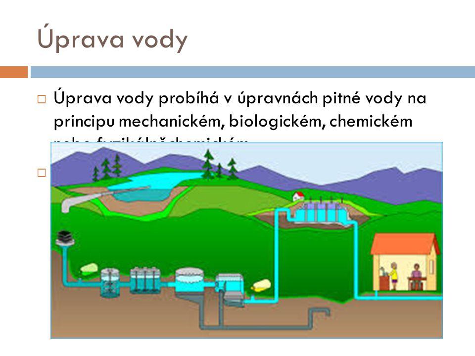 Úprava vody  Úprava vody probíhá v úpravnách pitné vody na principu mechanickém, biologickém, chemickém nebo fyzikálněchemickém.  Surová voda se upr