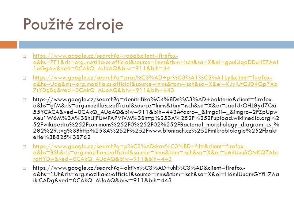 Použité zdroje  https://www.google.cz/search?q=ropa&client=firefox- a&hs=7F1&rls=org.mozilla:cs:official&source=lnms&tbm=isch&sa=X&ei=gpuIUqaDDuHE7Aa