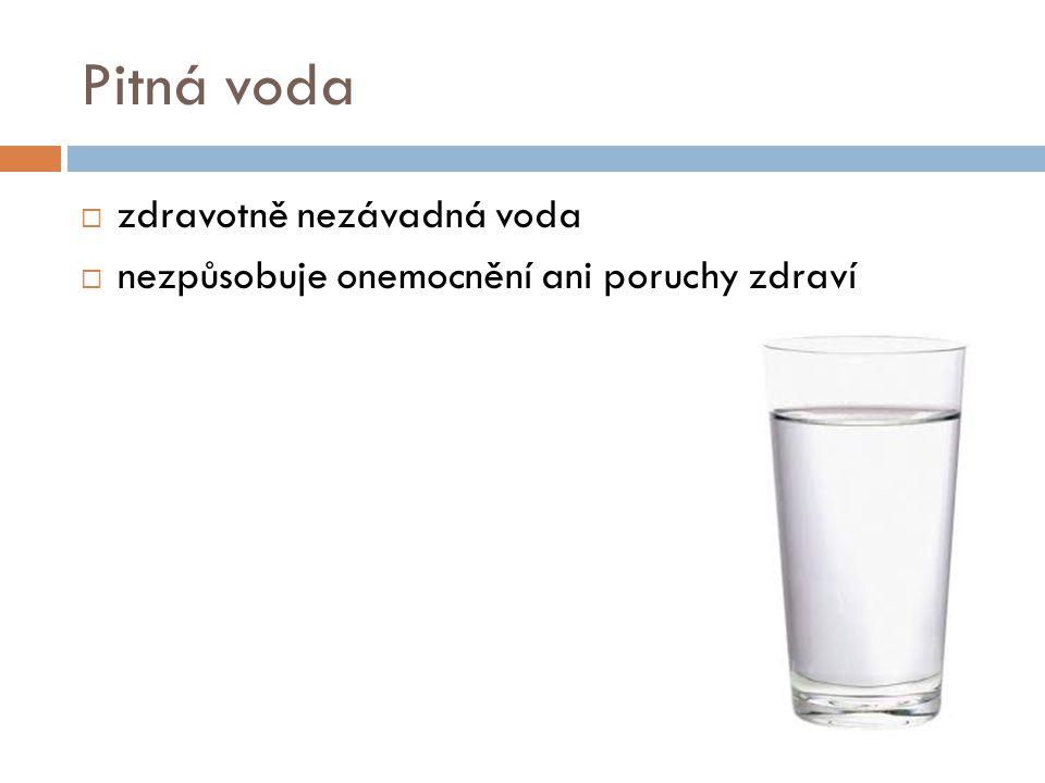 Pitná voda  zdravotně nezávadná voda  nezpůsobuje onemocnění ani poruchy zdraví