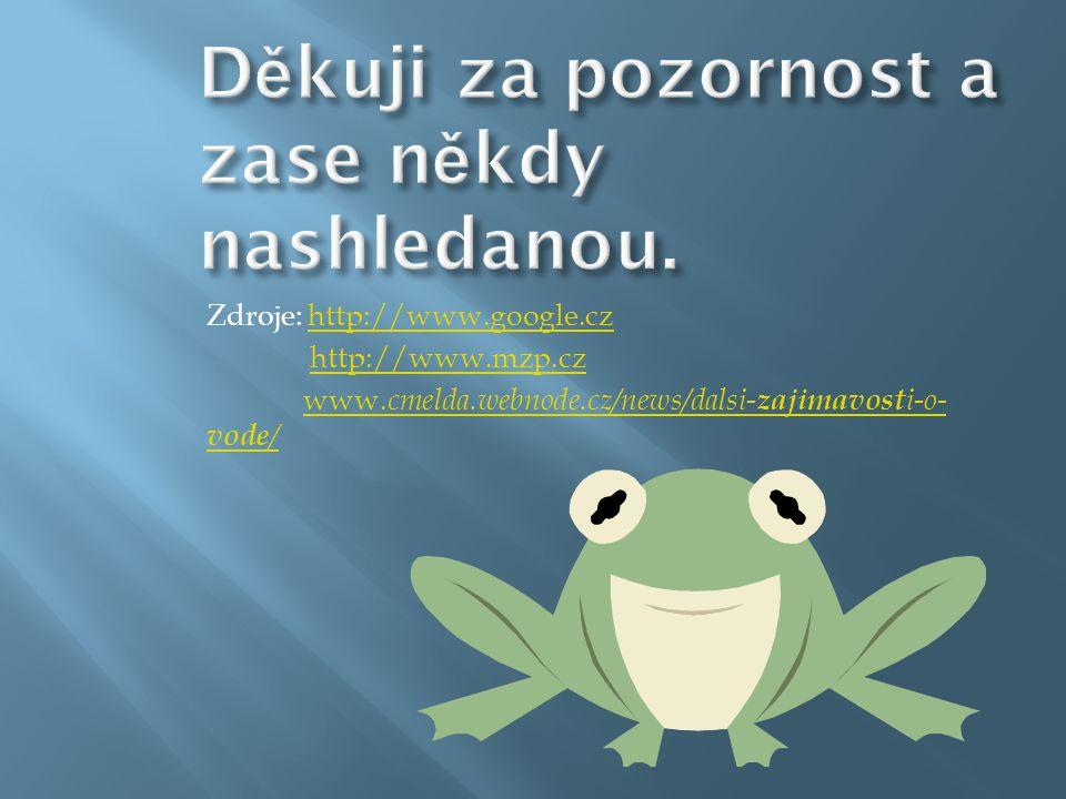 Zdroje: http://www.google.czhttp://www.google.cz http://www.mzp.cz www. cmelda.webnode.cz/news/dalsi- zajimavost i-o- vode /www. cmelda.webnode.cz/new