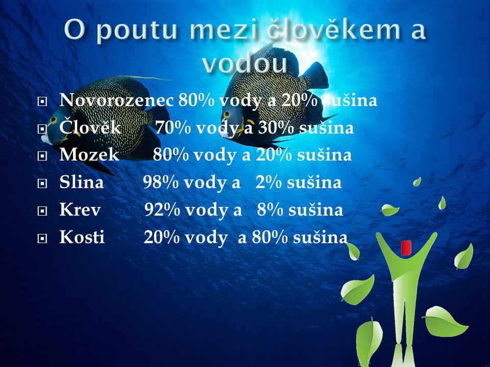  Novorozenec 80% vody a 20% sušina  Člověk 70% vody a 30% sušina  Mozek 80% vody a 20% sušina  Slina 98% vody a 2% sušina  Krev 92% vody a 8% sušina  Kosti 20% vody a 80% sušina