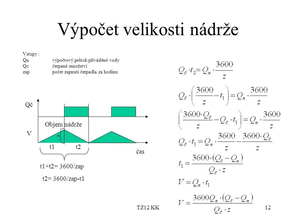 TZ12 KK12 Výpočet velikosti nádrže Vstupy : Qnvýpočtový průtok přiváděné vody Qcčerpané množství zappočet zapnutí čerpadla za hodinu Qč V t1t2 t1+t2=