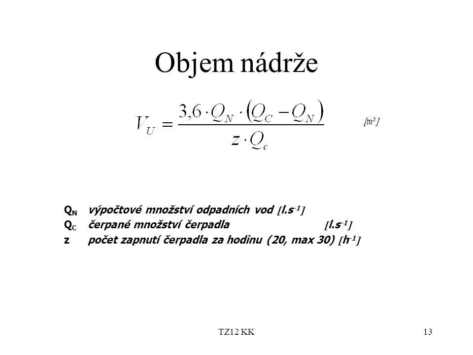 TZ12 KK13 Objem nádrže Q N výpočtové množství odpadních vod  l.s -1  Q C čerpané množství čerpadla  l.s -1  zpočet zapnutí čerpadla za hodinu (20,