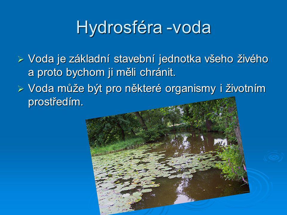 Hydrosféra -voda  Voda je základní stavební jednotka všeho živého a proto bychom ji měli chránit.  Voda může být pro některé organismy i životním pr