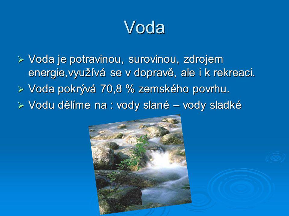 Voda  Voda je potravinou, surovinou, zdrojem energie,využívá se v dopravě, ale i k rekreaci.