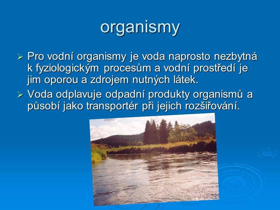 organismy  Pro vodní organismy je voda naprosto nezbytná k fyziologickým procesům a vodní prostředí je jim oporou a zdrojem nutných látek.