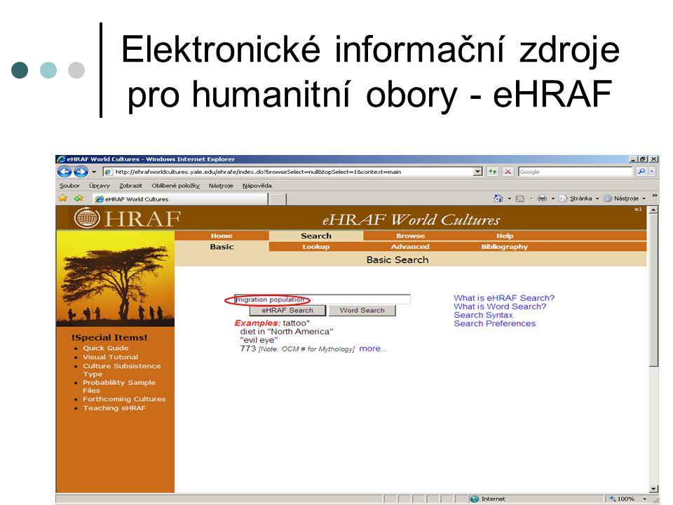 Elektronické informační zdroje pro humanitní obory - eHRAF