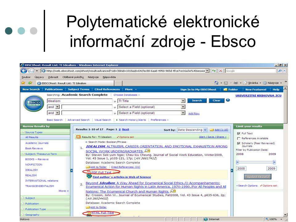 Polytematické elektronické informační zdroje – Science Direct Science Direct – plnotextová databáze Přístup z počítačů na ZČU: http://www.sciencedirect.comhttp://www.sciencedirect.com Přístup do kolekce plnotextových časopisů od nakladatelství Elsevier.