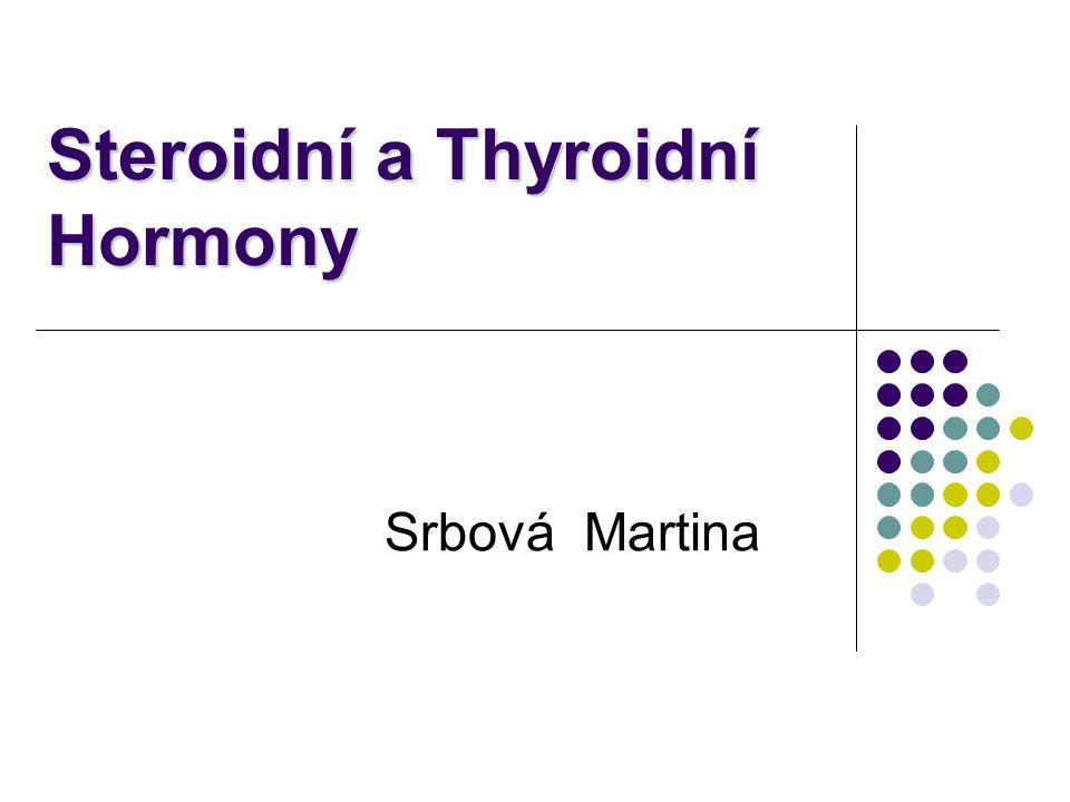 Mechanismus působení steroidních hormonů Copy from Devlin T.M.: Textbook of Biochemistry with Clinical Correlations Steroidní hormony jsou lipofilní, snadno procházejí membránou a vstupují do cytosolu Steroidy se váží na intracelulární receptory, které jsou buď v cytosolu nebo v jádře cílových buněk Komplex hormon-receptor působí jako transkripční faktor  aktivuje nebo potlačuje expresi genů