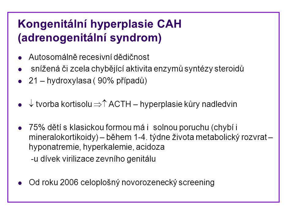 Kongenitální hyperplasie CAH (adrenogenitální syndrom) Autosomálně recesivní dědičnost snížená či zcela chybějící aktivita enzymů syntézy steroidů 21