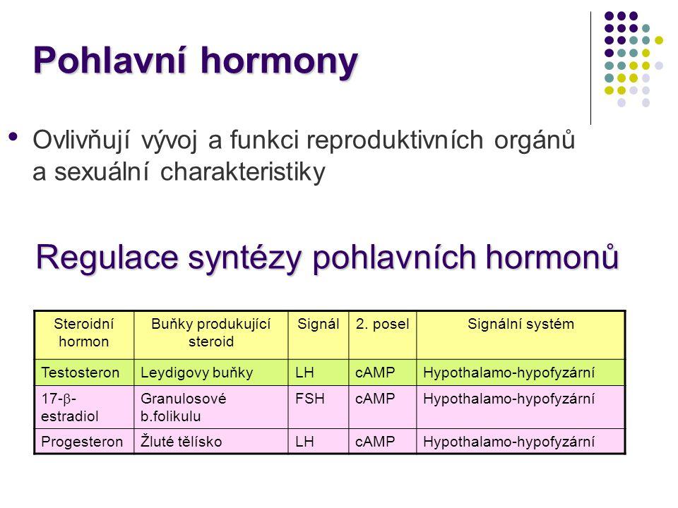 Pohlavní hormony Ovlivňují vývoj a funkci reproduktivních orgánů a sexuální charakteristiky Regulace syntézy pohlavních hormonů Steroidní hormon Buňky