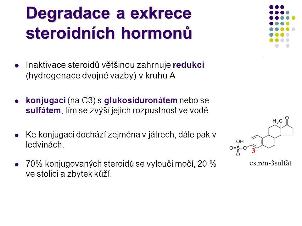 Degradace a exkrece steroidních hormonů Inaktivace steroidů většinou zahrnuje redukci (hydrogenace dvojné vazby) v kruhu A konjugaci (na C3) s glukosi
