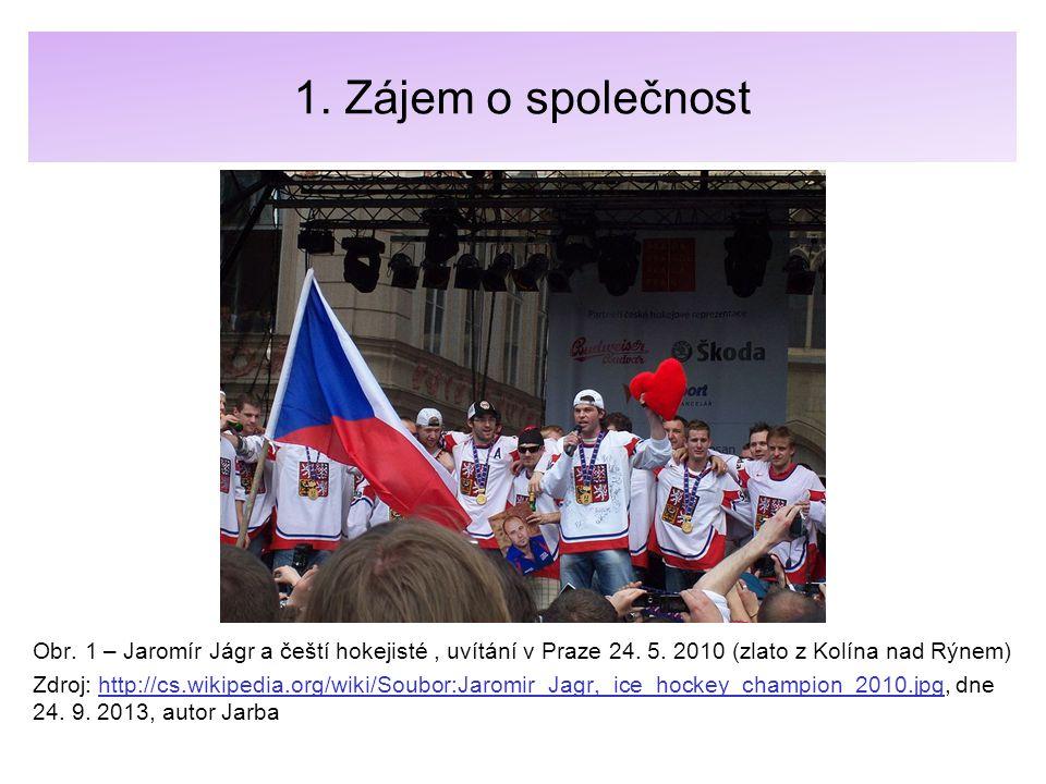 1. Zájem o společnost Obr. 1 – Jaromír Jágr a čeští hokejisté, uvítání v Praze 24. 5. 2010 (zlato z Kolína nad Rýnem) Zdroj: http://cs.wikipedia.org/w