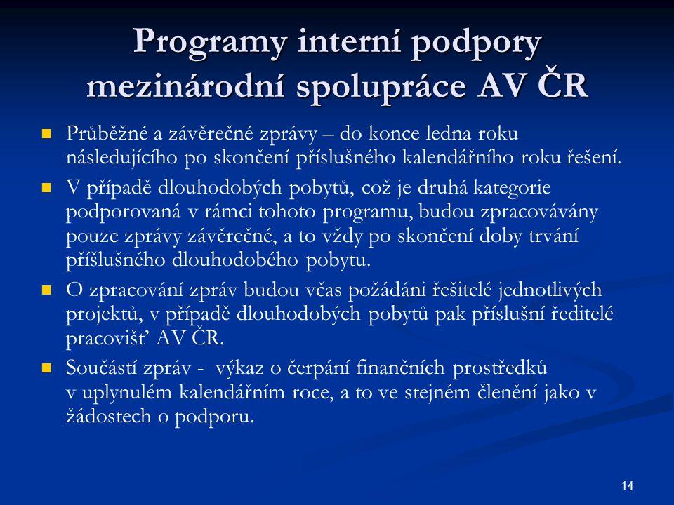 14 Programy interní podpory mezinárodní spolupráce AV ČR Průběžné a závěrečné zprávy – do konce ledna roku následujícího po skončení příslušného kalendářního roku řešení.