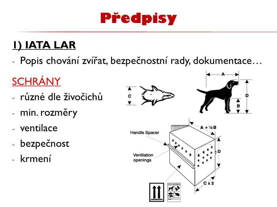 1) IATA LAR - Popis chování zvířat, bezpečnostní rady, dokumentace… SCHRÁNY - různé dle živočichů - min. rozměry - ventilace - bezpečnost - krmení Pře