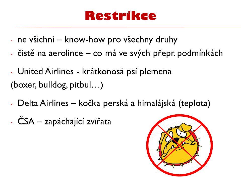 - ne všichni – know-how pro všechny druhy - čistě na aerolince – co má ve svých přepr. podmínkách - United Airlines - krátkonosá psí plemena (boxer, b