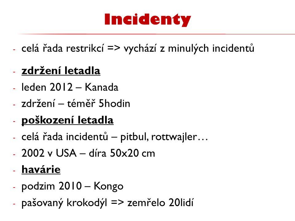 - celá řada restrikcí => vychází z minulých incidentů - zdržení letadla - leden 2012 – Kanada - zdržení – téměř 5hodin - poškození letadla - celá řada