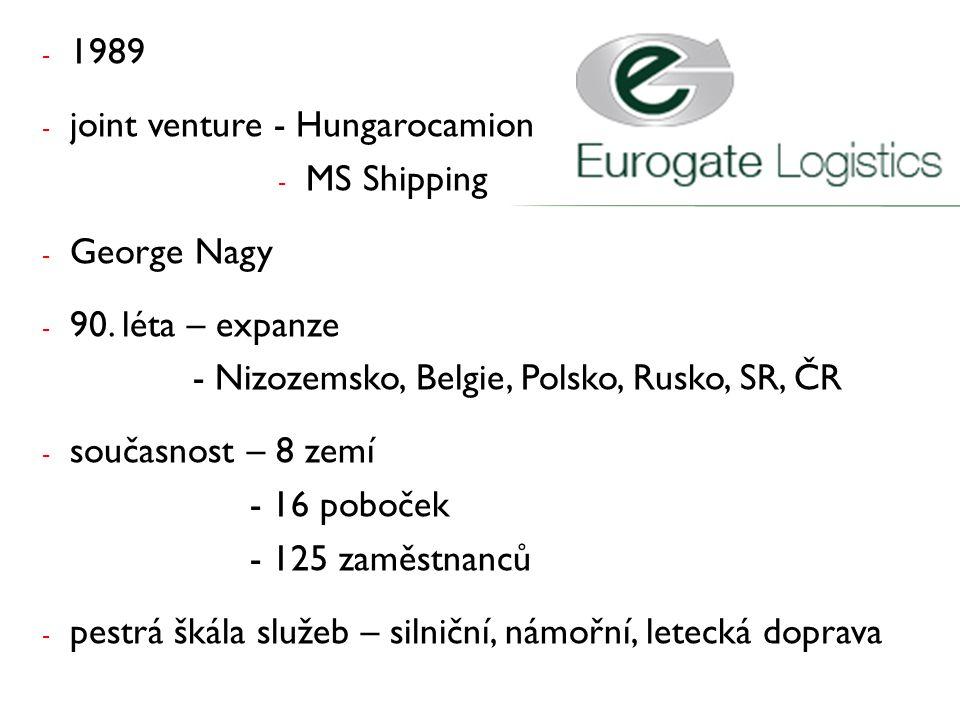 - 1989 - joint venture - Hungarocamion - MS Shipping - George Nagy - 90. léta – expanze - Nizozemsko, Belgie, Polsko, Rusko, SR, ČR - současnost – 8 z