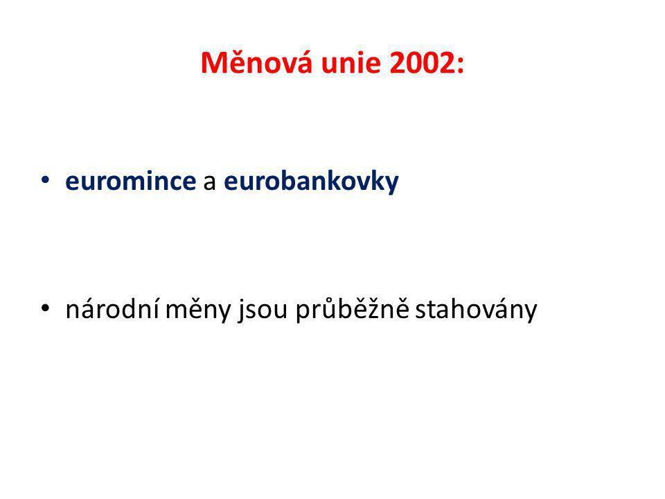 Měnová unie 2002: euromince a eurobankovky národní měny jsou průběžně stahovány