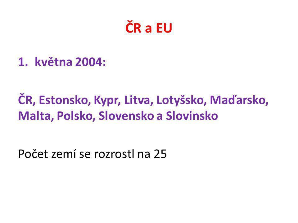 ČR a EU 1.května 2004: ČR, Estonsko, Kypr, Litva, Lotyšsko, Maďarsko, Malta, Polsko, Slovensko a Slovinsko Počet zemí se rozrostl na 25