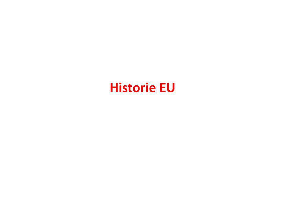 Situace po druhé světové válce: 1945 1950: francouzský ministr zahraničních věcí Robert Schuman plán spolupráce mezi evropskými státy: Schumanova deklarace 1951 Společenství uhlí a oceli (země Beneluxu, Itálie, Francie, Německo)
