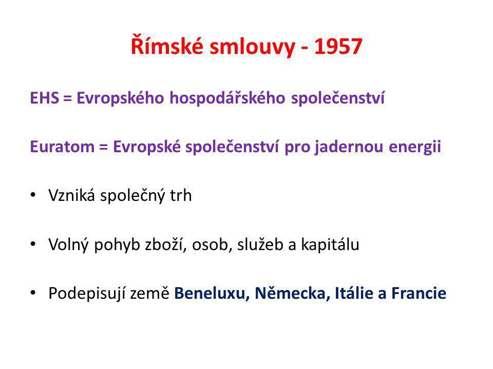 Římské smlouvy - 1957 EHS = Evropského hospodářského společenství Euratom = Evropské společenství pro jadernou energii Vzniká společný trh Volný pohyb zboží, osob, služeb a kapitálu Podepisují země Beneluxu, Německa, Itálie a Francie