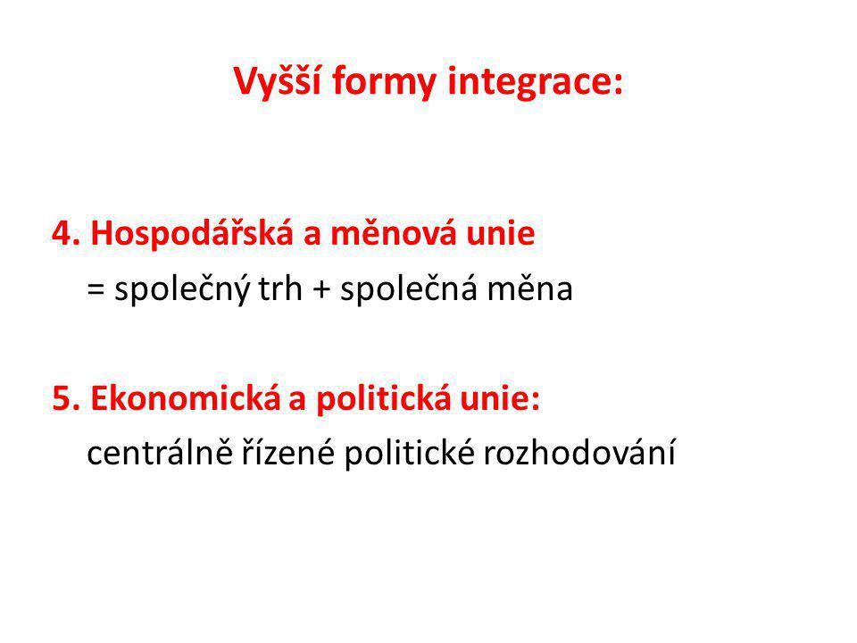 Vyšší formy integrace: 4. Hospodářská a měnová unie = společný trh + společná měna 5.