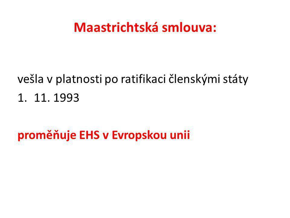 Maastrichtská smlouva: vešla v platnosti po ratifikaci členskými státy 1.11.