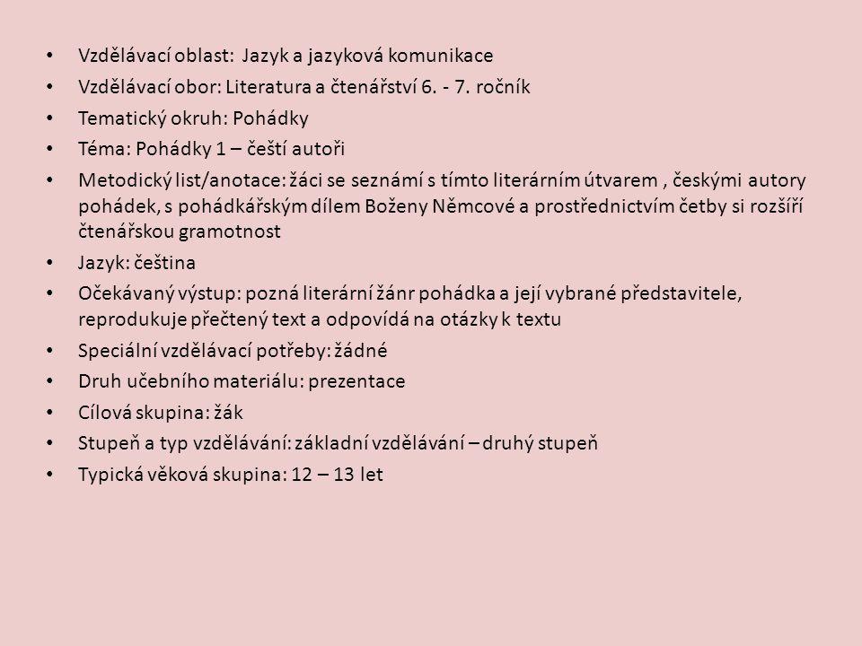 UKÁZKA: Božena Němcová: Lesní ženka Dorovská, Dagmar, Řeřichová, Vlasta.