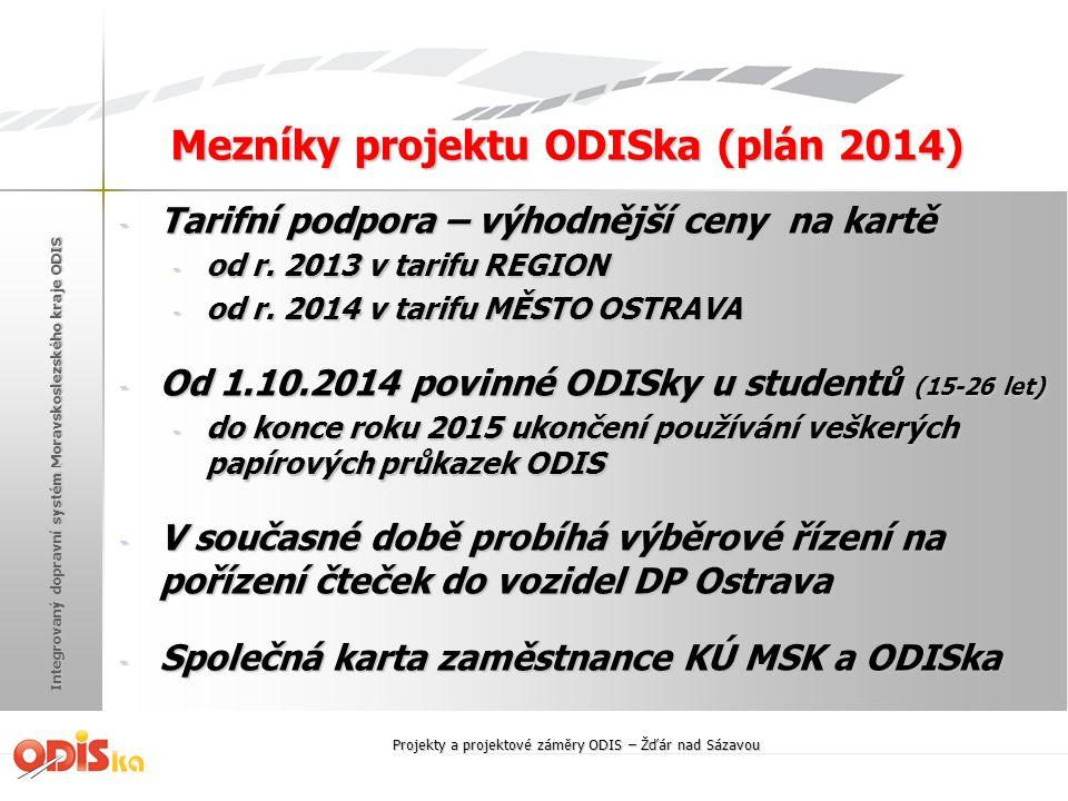 Integrovaný dopravní systém Moravskoslezského kraje ODIS Mezníky projektu ODISka (plán 2014) - Tarifní podpora – výhodnější ceny na kartě - od r. 2013