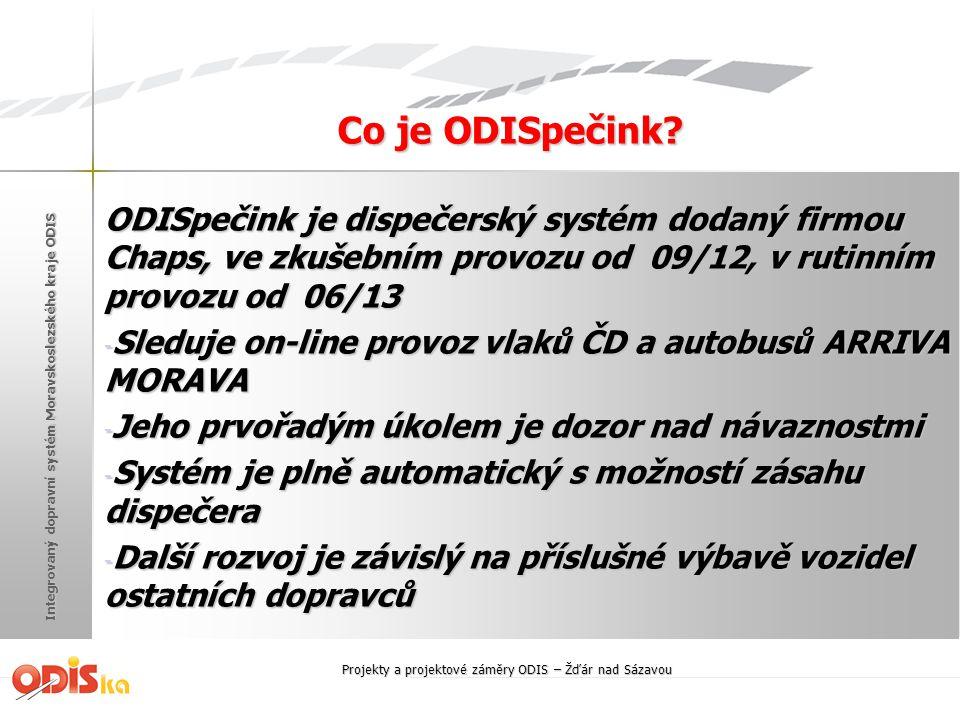 Integrovaný dopravní systém Moravskoslezského kraje ODIS Co je ODISpečink? ODISpečink je dispečerský systém dodaný firmou Chaps, ve zkušebním provozu