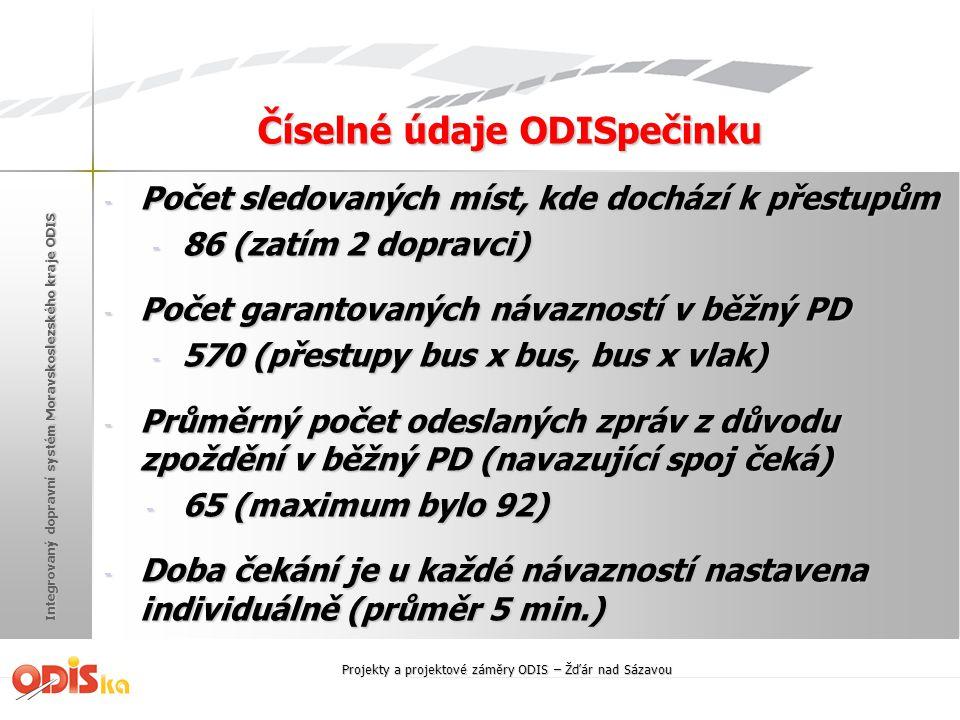 Integrovaný dopravní systém Moravskoslezského kraje ODIS Číselné údaje ODISpečinku - Počet sledovaných míst, kde dochází k přestupům - 86 (zatím 2 dop