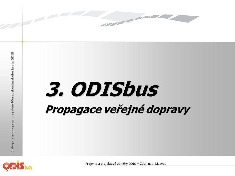 Integrovaný dopravní systém Moravskoslezského kraje ODIS 3. ODISbus Propagace veřejné dopravy Projekty a projektové záměry ODIS – Žďár nad Sázavou