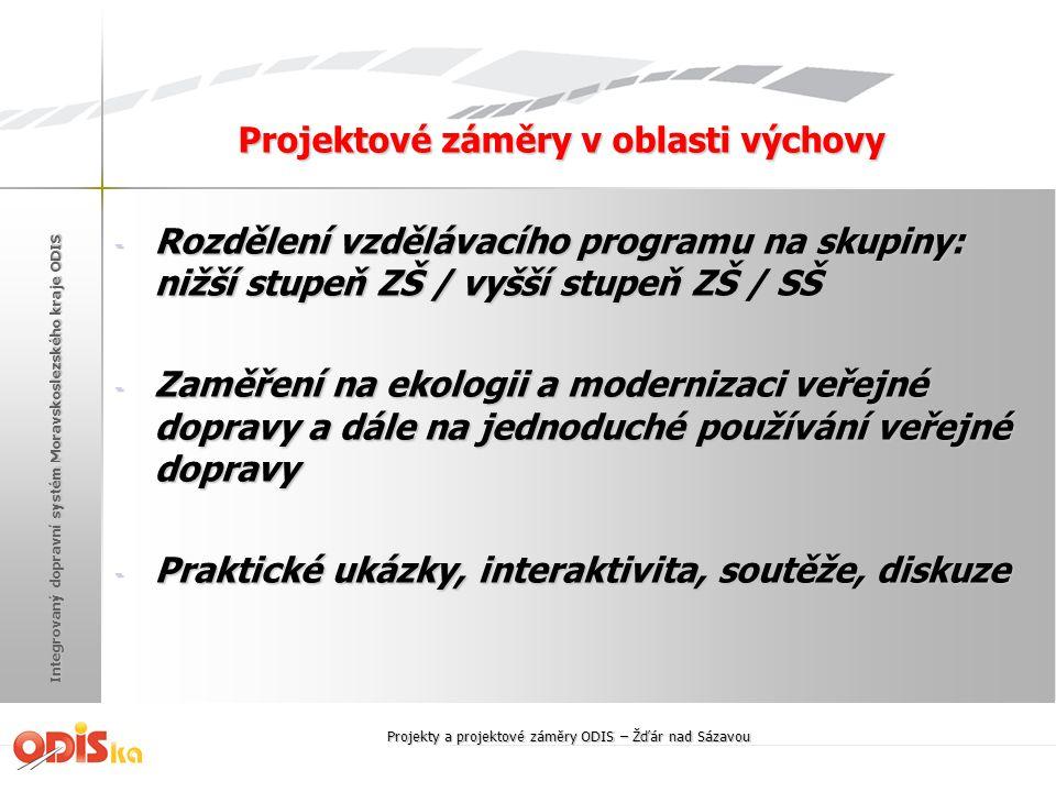 Integrovaný dopravní systém Moravskoslezského kraje ODIS Projektové záměry v oblasti výchovy - Rozdělení vzdělávacího programu na skupiny: nižší stupe