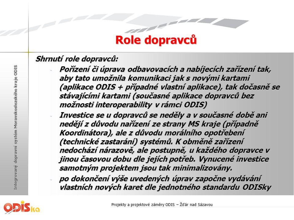 Integrovaný dopravní systém Moravskoslezského kraje ODIS Role dopravců Shrnutí role dopravců: - Pořízení či úprava odbavovacích a nabíjecích zařízení
