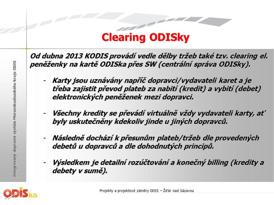 Integrovaný dopravní systém Moravskoslezského kraje ODIS Clearing ODISky Od dubna 2013 KODIS provádí vedle dělby tržeb také tzv. clearing el. peněženk