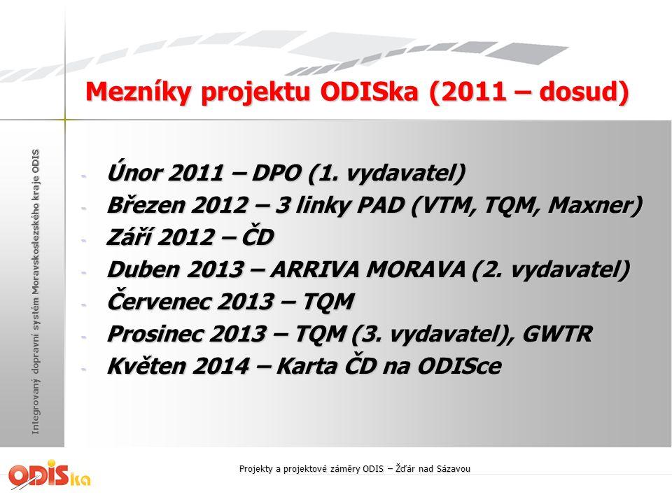 Integrovaný dopravní systém Moravskoslezského kraje ODIS Číselné údaje ODISpečinku - Počet sledovaných míst, kde dochází k přestupům - 86 (zatím 2 dopravci) - Počet garantovaných návazností v běžný PD - 570 (přestupy bus x bus, bus x vlak) - Průměrný počet odeslaných zpráv z důvodu zpoždění v běžný PD (navazující spoj čeká) - 65 (maximum bylo 92) - Doba čekání je u každé návazností nastavena individuálně (průměr 5 min.) Projekty a projektové záměry ODIS – Žďár nad Sázavou