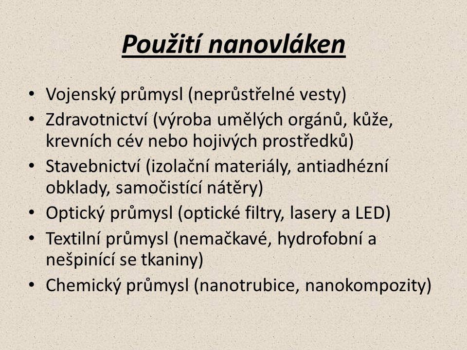 Použití nanovláken Vojenský průmysl (neprůstřelné vesty) Zdravotnictví (výroba umělých orgánů, kůže, krevních cév nebo hojivých prostředků) Stavebnict