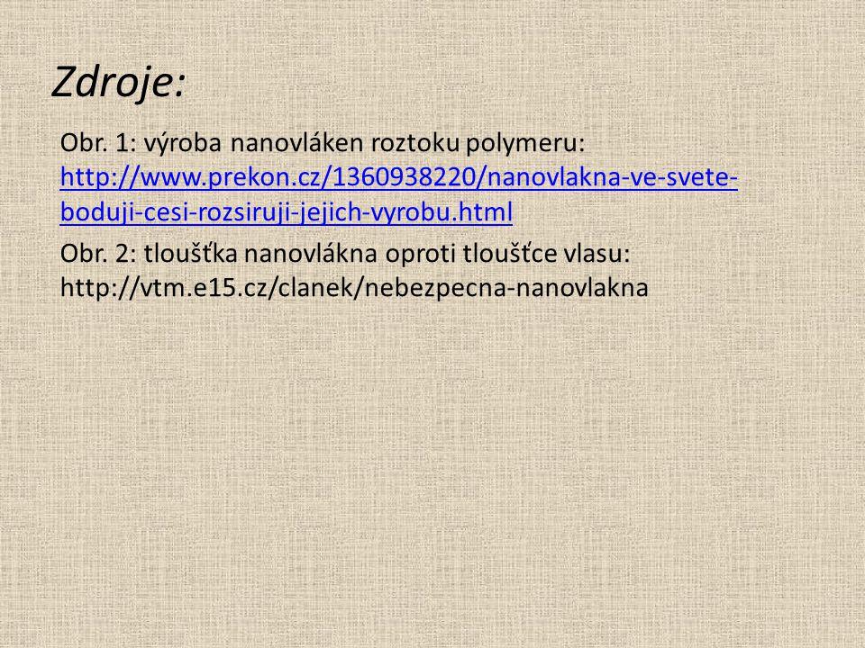 Zdroje: Obr. 1: výroba nanovláken roztoku polymeru: http://www.prekon.cz/1360938220/nanovlakna-ve-svete- boduji-cesi-rozsiruji-jejich-vyrobu.html http