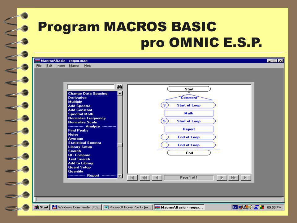 Program MACROS BASIC pro OMNIC E.S.P.