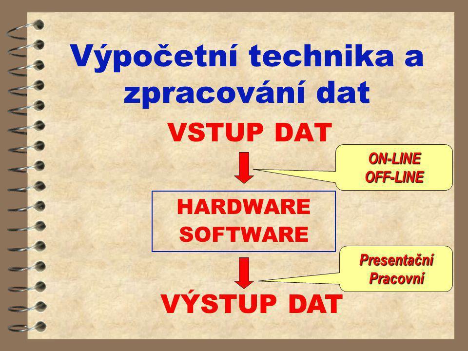 Výpočetní technika a zpracování dat VSTUP DAT VÝSTUP DAT HARDWARE SOFTWARE ON-LINEOFF-LINE PresentačníPracovní