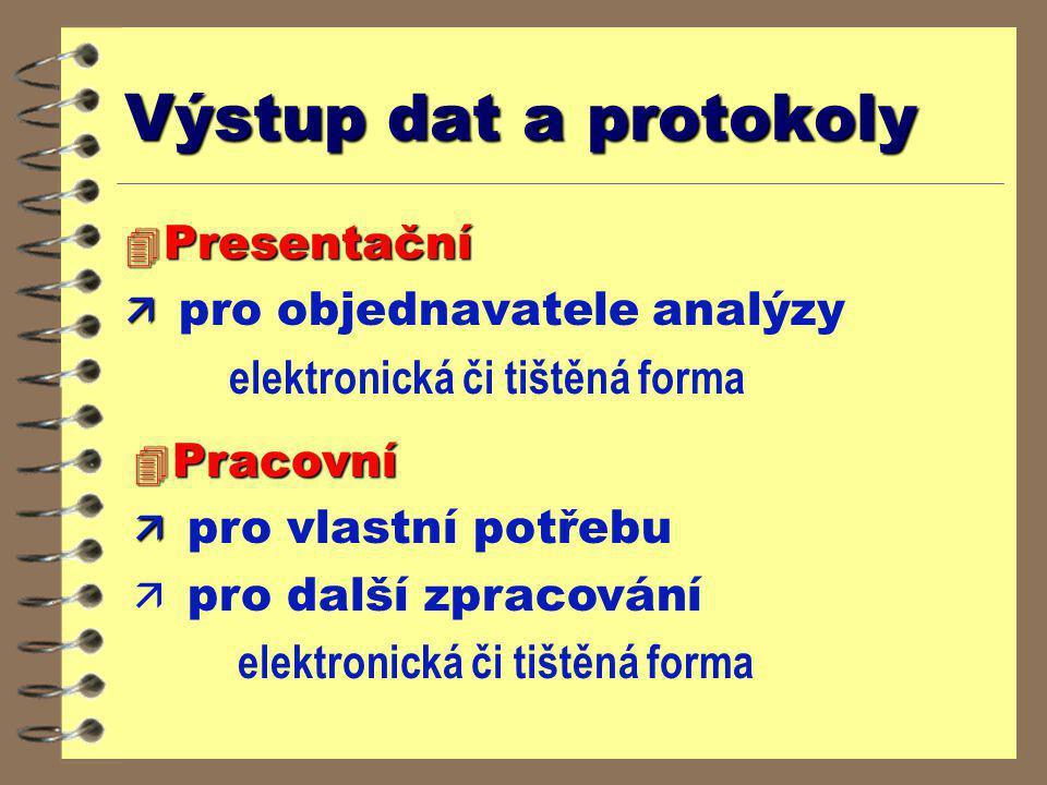 Výstup dat a protokoly 4 Presentační ä ä pro objednavatele analýzy elektronická či tištěná forma 4 Pracovní ä ä pro vlastní potřebu ä pro další zpraco