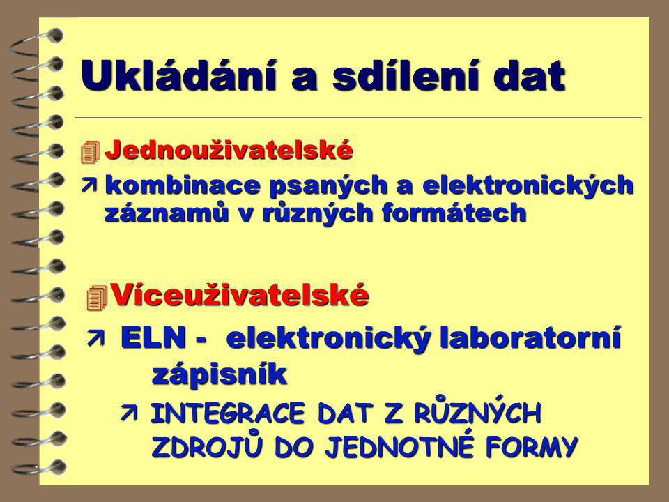 Ukládání a sdílení dat 4 Jednouživatelské  kombinace psaných a elektronických záznamů v různých formátech 4 Víceuživatelské ä ELN - elektronický labo