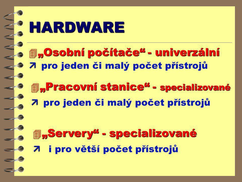 """HARDWARE 4 """"Osobní počítače"""" - univerzální ä ä pro jeden či malý počet přístrojů 4 """"Pracovní stanice"""" - specializované ä ä pro jeden či malý počet pří"""