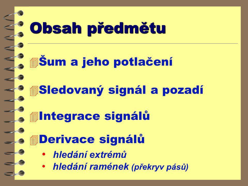 Obsah předmětu 4 Šum a jeho potlačení 4 Sledovaný signál a pozadí 4 Integrace signálů 4 Derivace signálů hledání extrémů hledání ramének (překryv pásů