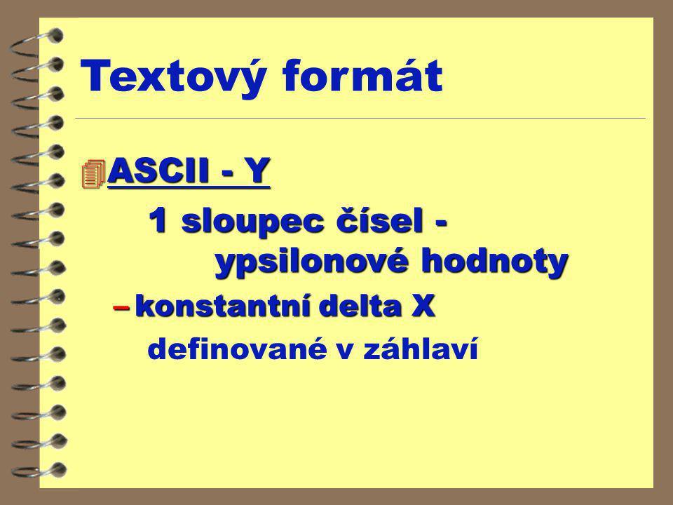 4 ASCII - Y 1 sloupec čísel - ypsilonové hodnoty –konstantní delta X definované v záhlaví Textový formát