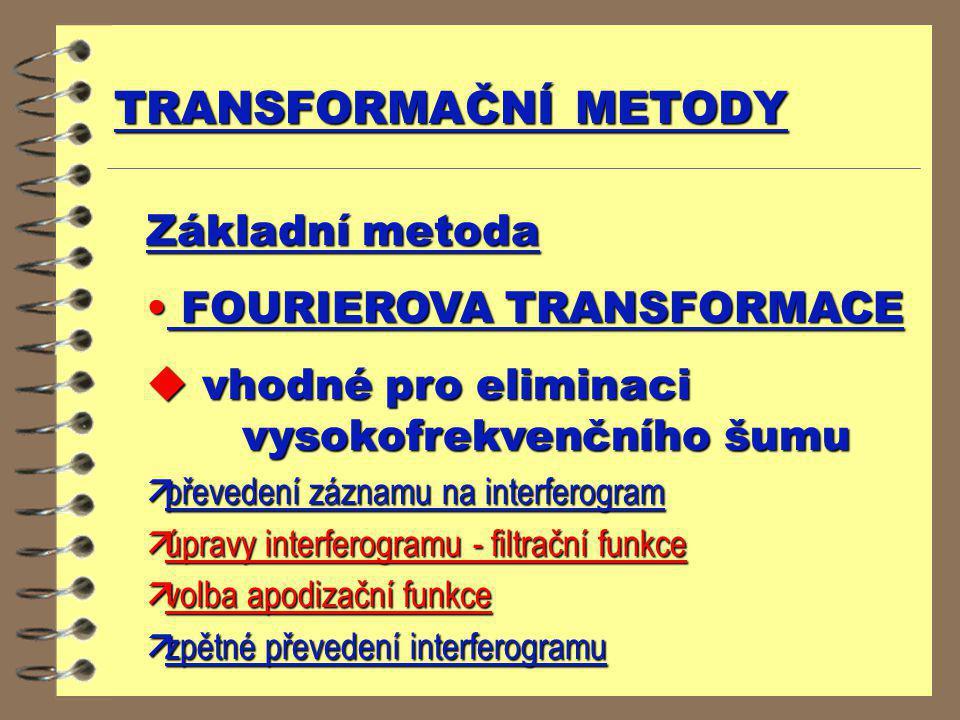 Základní metoda FOURIEROVA TRANSFORMACE FOURIEROVA TRANSFORMACE u vhodné pro eliminaci vysokofrekvenčního šumu äpřevedení záznamu na interferogram äúp